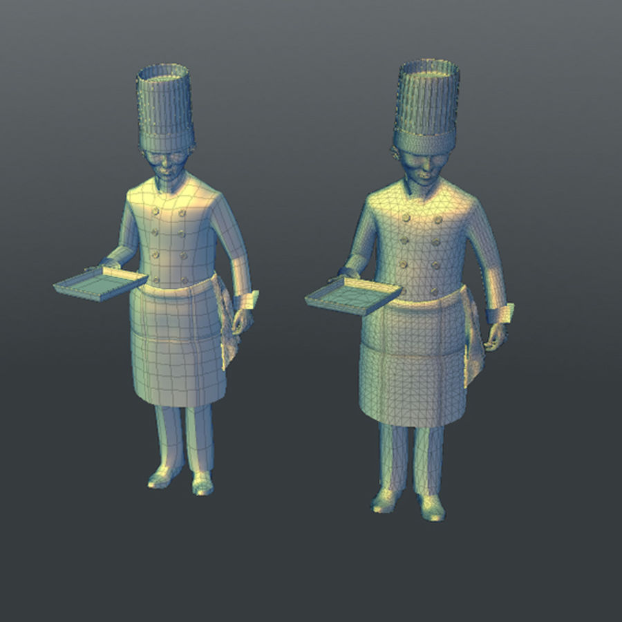Worker 03(Cook) royalty-free 3d model - Preview no. 16