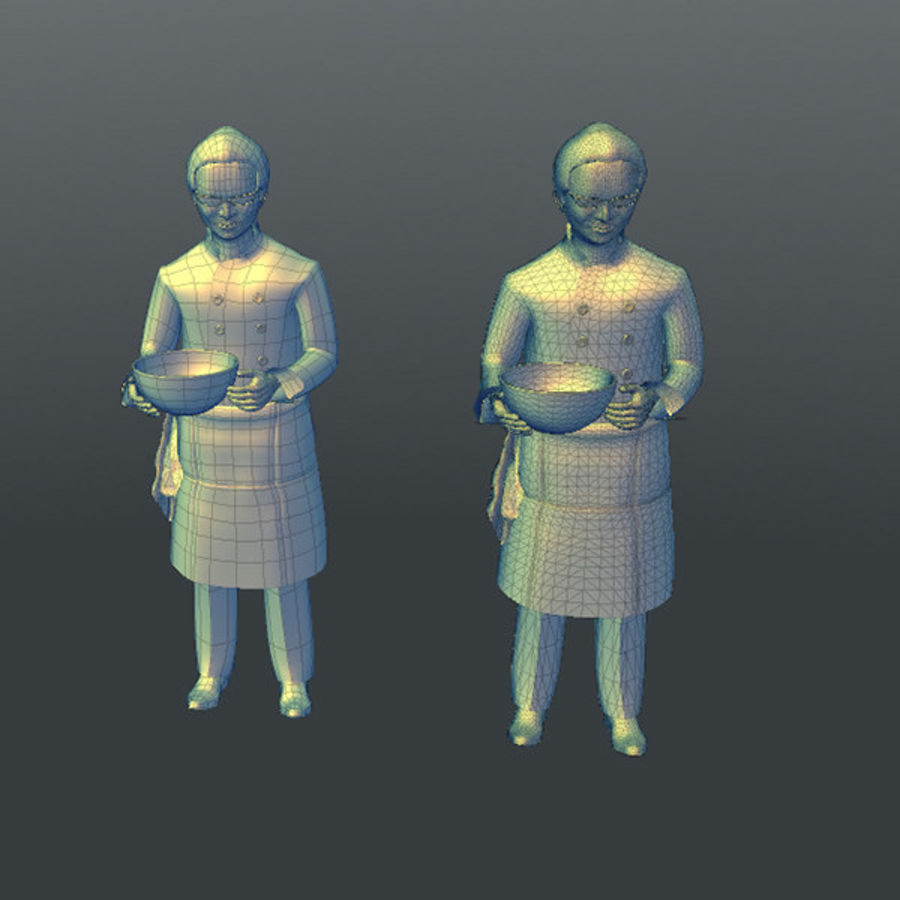 Worker 03(Cook) royalty-free 3d model - Preview no. 18