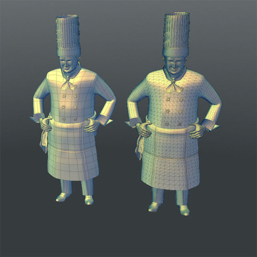 Worker 03(Cook) royalty-free 3d model - Preview no. 14