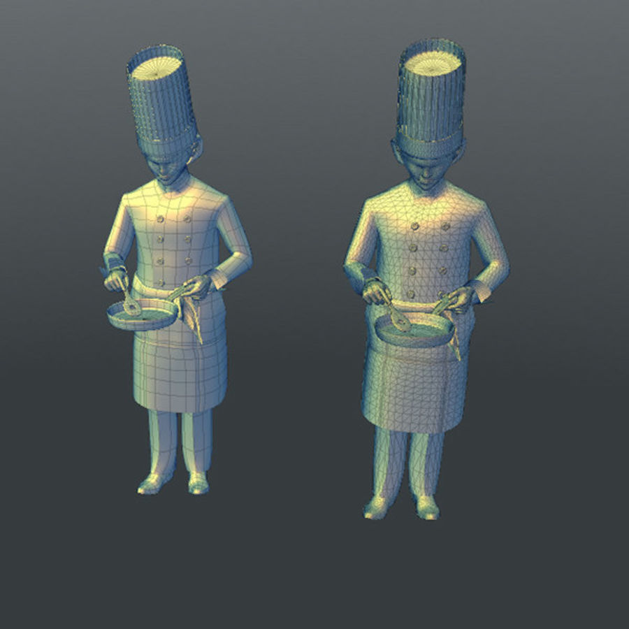 Worker 03(Cook) royalty-free 3d model - Preview no. 19