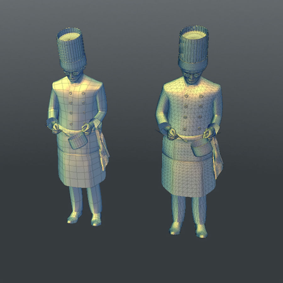 Worker 03(Cook) royalty-free 3d model - Preview no. 15