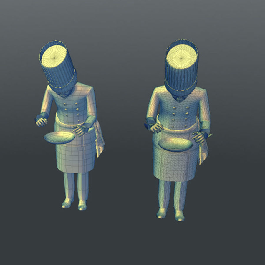 Worker 03(Cook) royalty-free 3d model - Preview no. 20