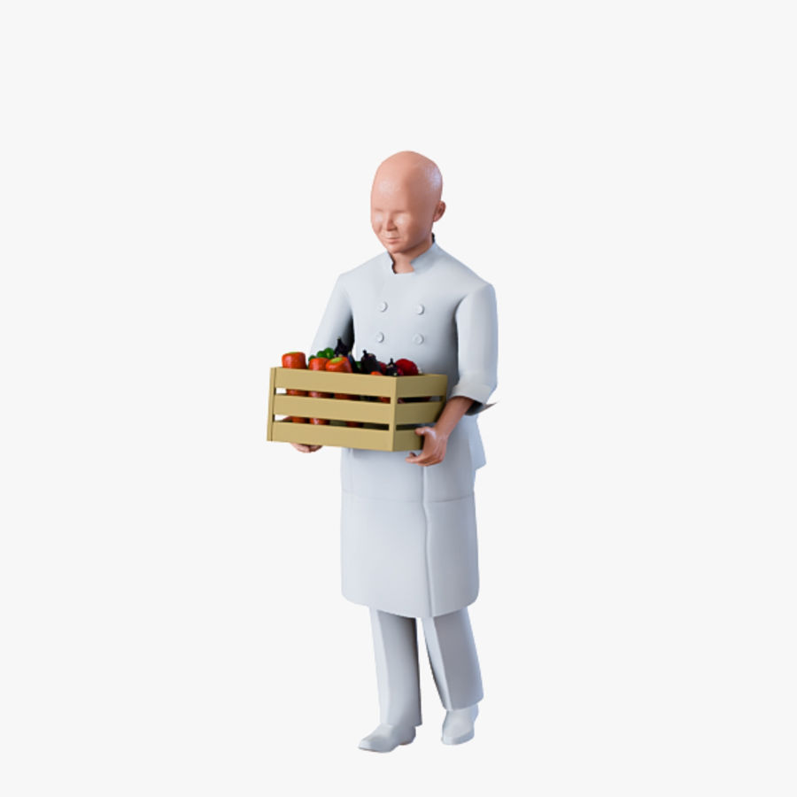 Worker 03(Cook) royalty-free 3d model - Preview no. 9