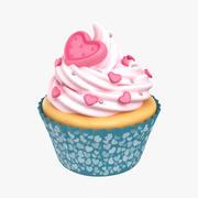 Cupcake Coração Rose 3d model