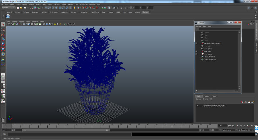 Rosemary Plant in Pot royalty-free 3d model - Preview no. 17