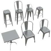 Tolix Furniture Collection (Stool - Chair - Table) 3d model
