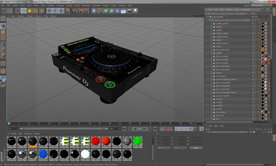 Tabletop DJ Player Pioneer CDJ 2000NXS2 royalty-free 3d model - Preview no. 21