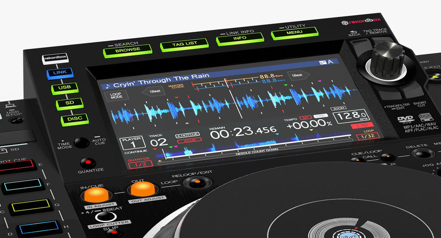Tabletop DJ Player Pioneer CDJ 2000NXS2 royalty-free 3d model - Preview no. 15