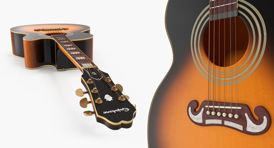 Electro Acoustic Guitar Epiphone royalty-free 3d model - Preview no. 10