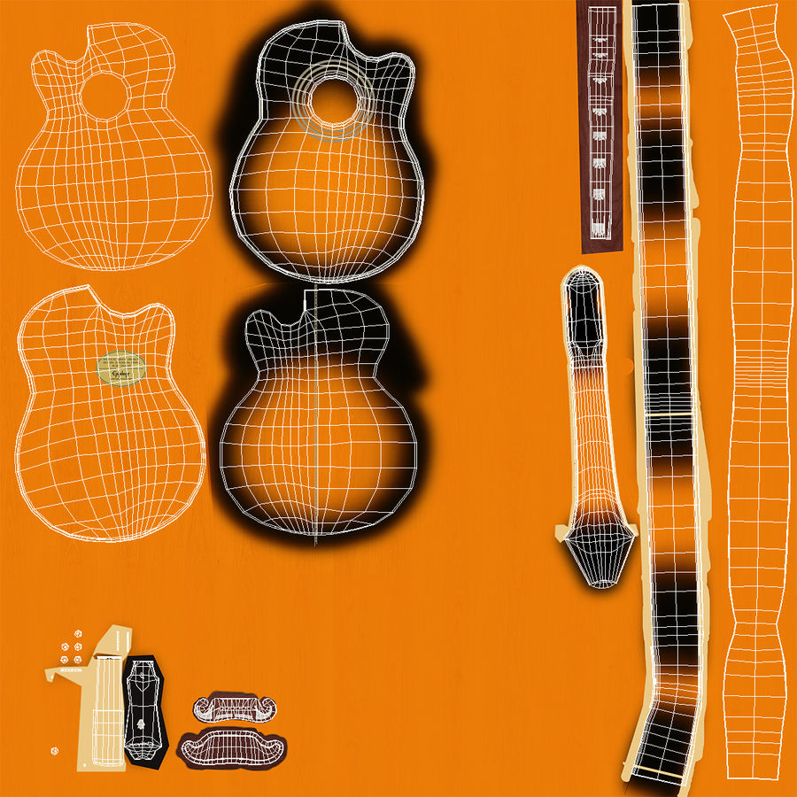 Electro Acoustic Guitar Epiphone royalty-free 3d model - Preview no. 13