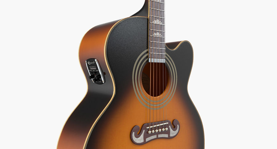 Electro Acoustic Guitar Epiphone royalty-free 3d model - Preview no. 9