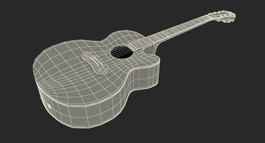 Electro Acoustic Guitar Epiphone royalty-free 3d model - Preview no. 18