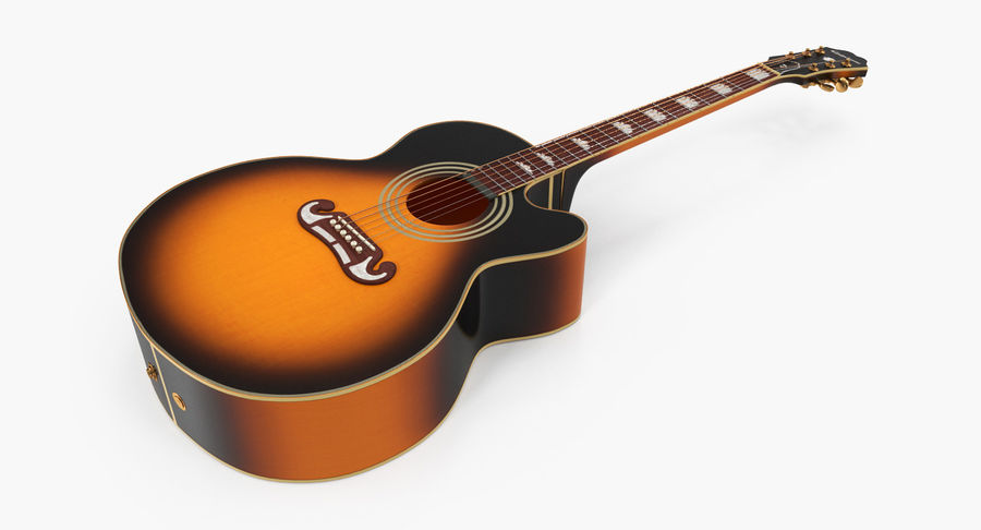 Electro Acoustic Guitar Epiphone royalty-free 3d model - Preview no. 5
