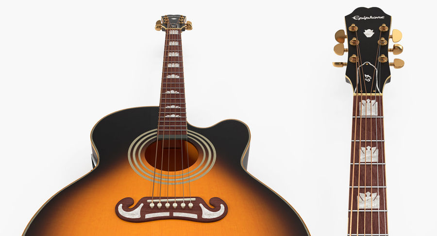 Electro Acoustic Guitar Epiphone royalty-free 3d model - Preview no. 7