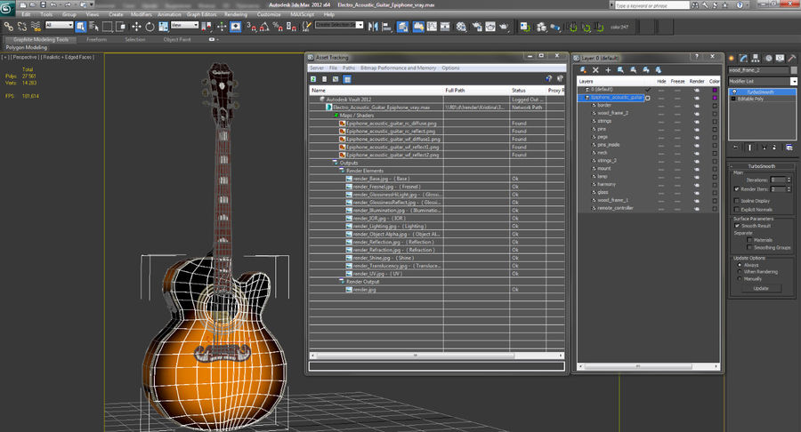 Electro Acoustic Guitar Epiphone royalty-free 3d model - Preview no. 15