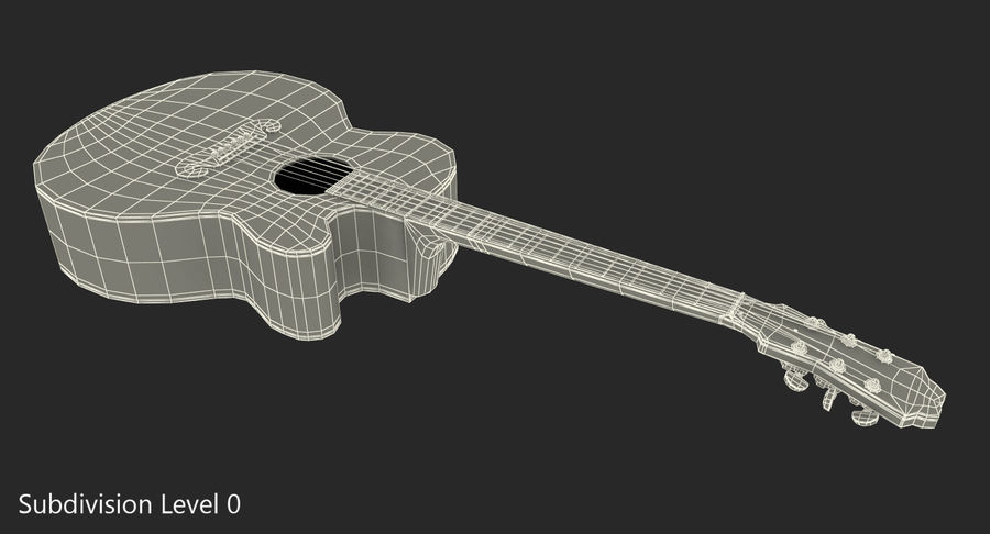 Electro Acoustic Guitar Epiphone royalty-free 3d model - Preview no. 11