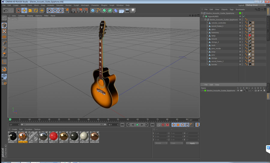 Electro Acoustic Guitar Epiphone royalty-free 3d model - Preview no. 17