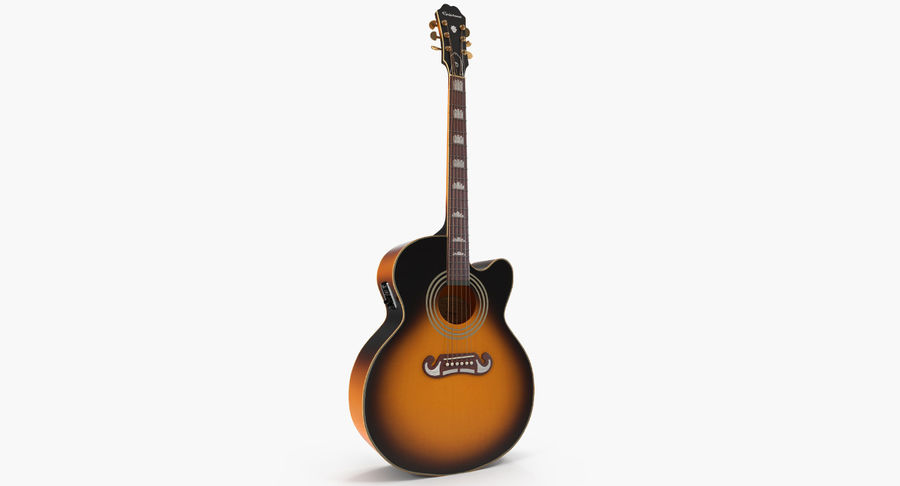 Electro Acoustic Guitar Epiphone royalty-free 3d model - Preview no. 2