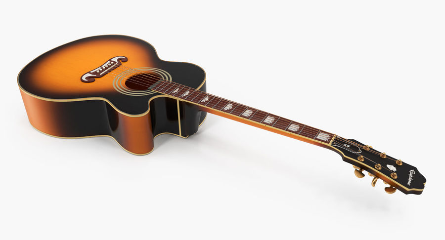 Electro Acoustic Guitar Epiphone royalty-free 3d model - Preview no. 6