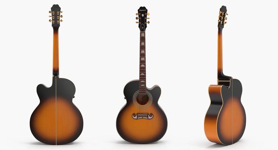 Electro Acoustic Guitar Epiphone royalty-free 3d model - Preview no. 3