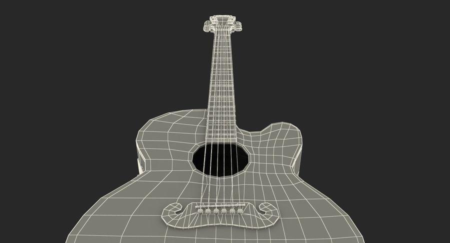 Electro Acoustic Guitar Epiphone royalty-free 3d model - Preview no. 21