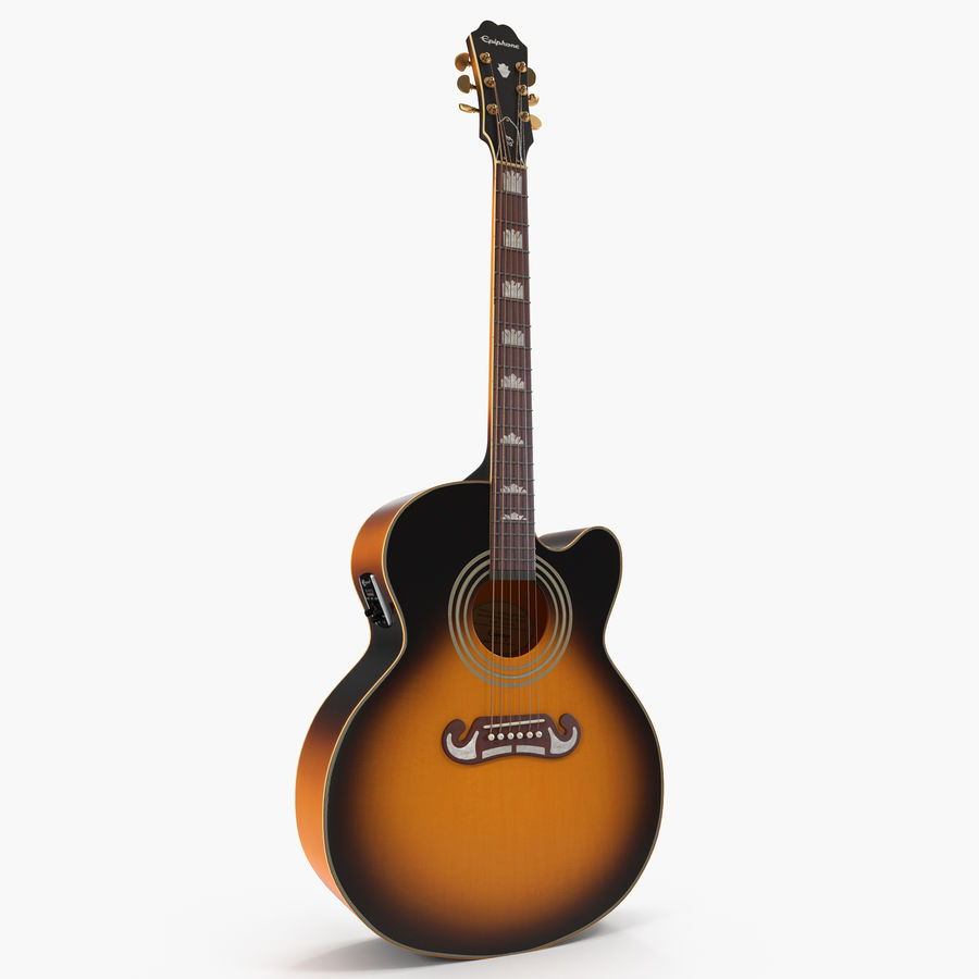 Electro Acoustic Guitar Epiphone royalty-free 3d model - Preview no. 1