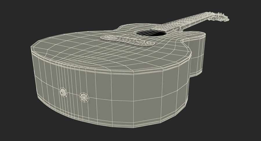 Electro Acoustic Guitar Epiphone royalty-free 3d model - Preview no. 19
