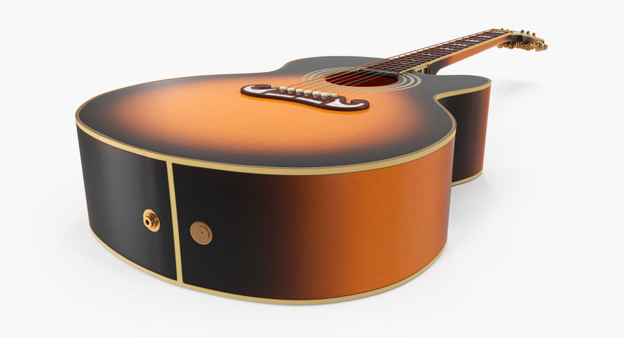 Electro Acoustic Guitar Epiphone royalty-free 3d model - Preview no. 8