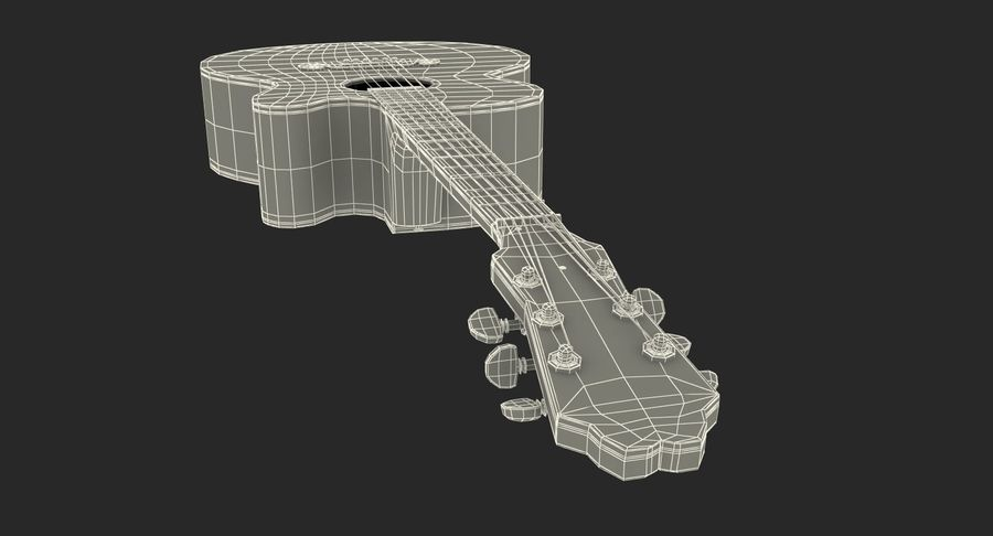 Electro Acoustic Guitar Epiphone royalty-free 3d model - Preview no. 22