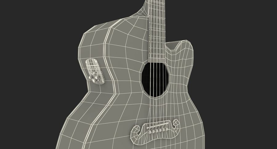Electro Acoustic Guitar Epiphone royalty-free 3d model - Preview no. 20