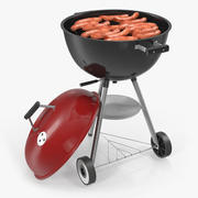 Grilling Sausages on Grill 3d model