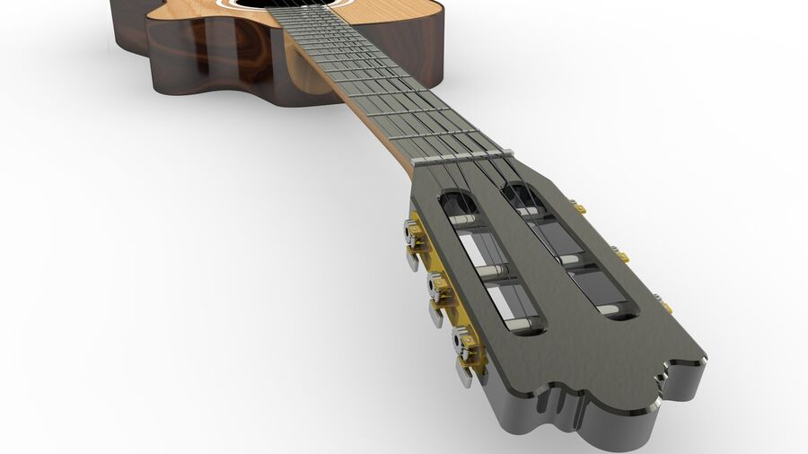 Classic Guitar royalty-free 3d model - Preview no. 5