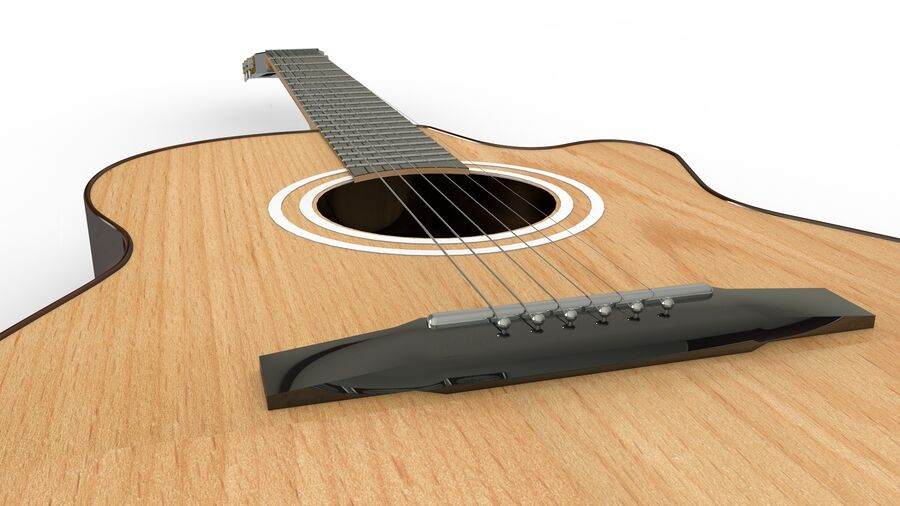 Classic Guitar royalty-free 3d model - Preview no. 6