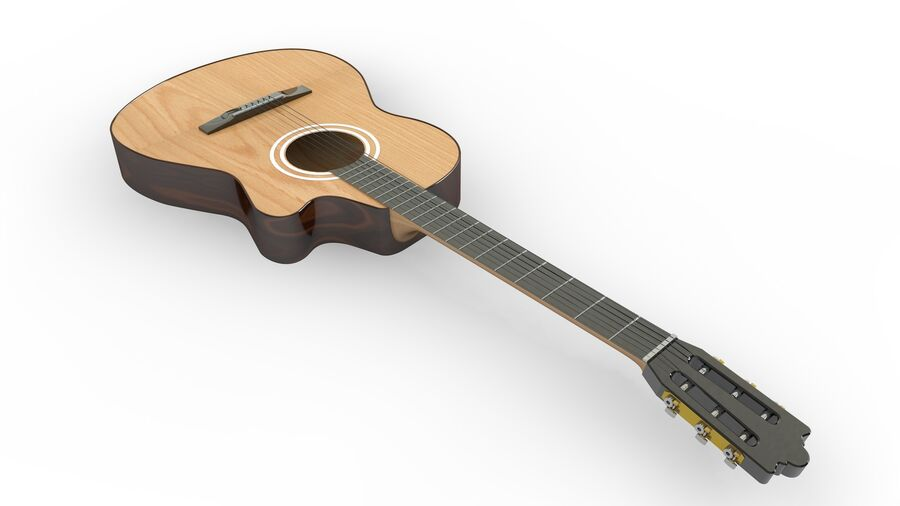 Classic Guitar royalty-free 3d model - Preview no. 4