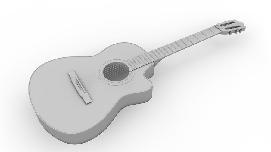 Classic Guitar royalty-free 3d model - Preview no. 13
