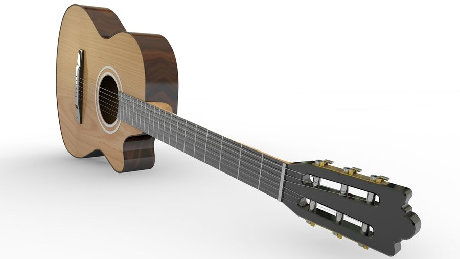 Classic Guitar royalty-free 3d model - Preview no. 12