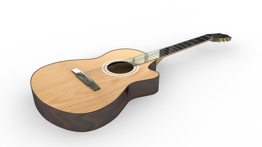 Classic Guitar royalty-free 3d model - Preview no. 3