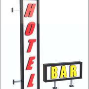 Label Hôtel-Bar 3d model