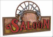 Western Saloon Label und Colts 3d model