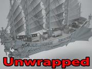 Asian ship 3d model