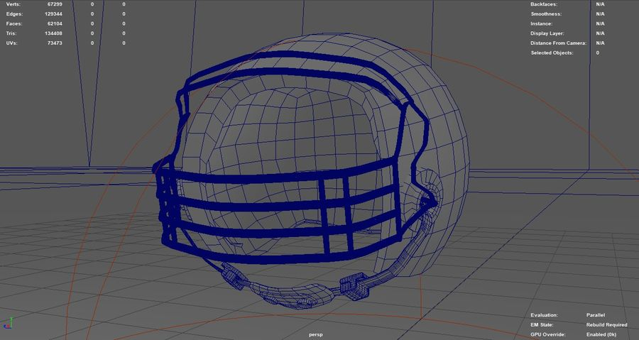 Футбольный шлем royalty-free 3d model - Preview no. 3