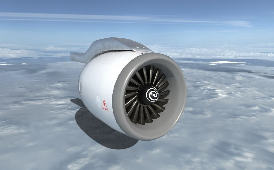 Airplane Jet Engine royalty-free 3d model - Preview no. 2