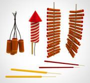 Conjunto de fogos de artifício chineses (1) 3d model