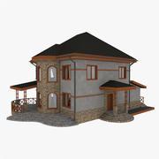테라스가있는 스톤 하우스 3d model