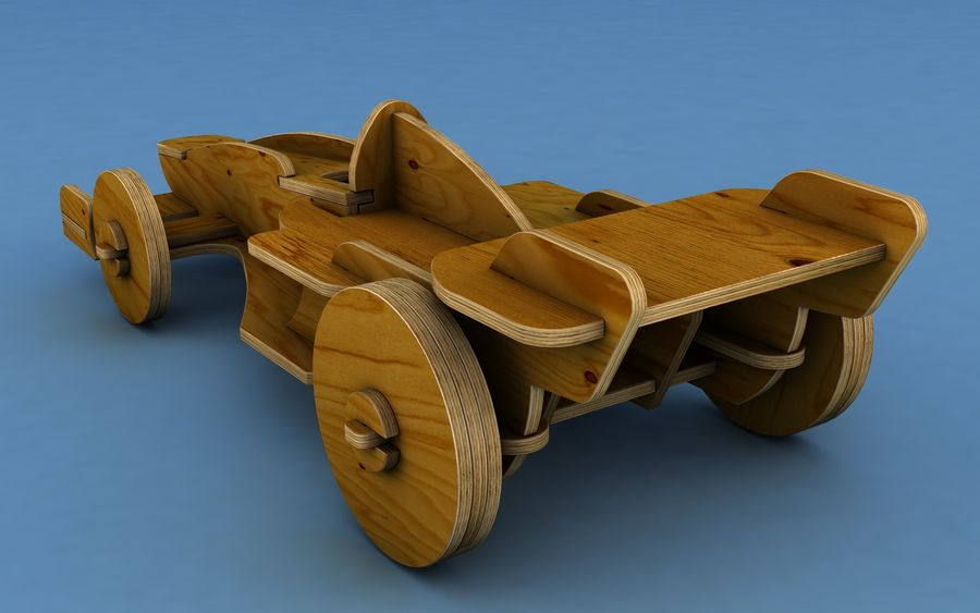 Drewniany samochód wyścigowy royalty-free 3d model - Preview no. 3