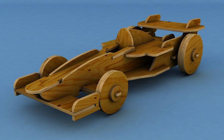 Drewniany samochód wyścigowy royalty-free 3d model - Preview no. 1