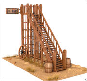 Western Wood Stairs 3d model