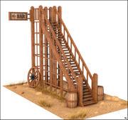 Escaliers en bois occidentaux 3d model