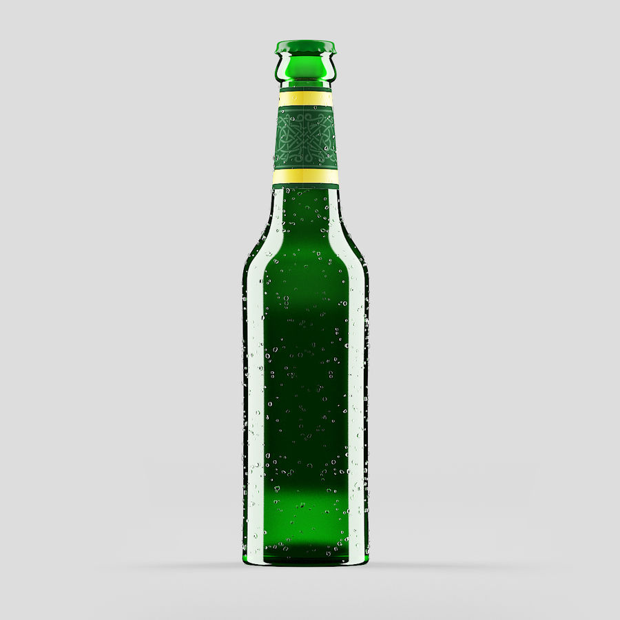 Green Beer Bottle royalty-free 3d model - Preview no. 3