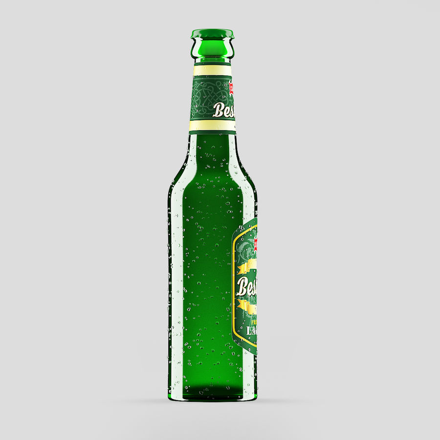 Green Beer Bottle royalty-free 3d model - Preview no. 2